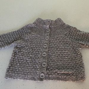 Ann Taylor grey crochet cardigan size m short slv
